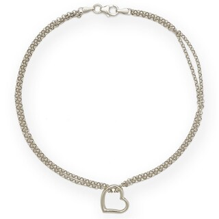 14k White Gold Freeform Heart Double Strand 10-inch Ankle Bracelet
