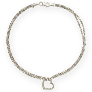14k White Gold Freeform Heart Double Strand 10-inch Ankle Bracelet