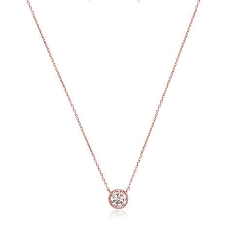 14k Rose Gold Cubic Zirconia Bezel Solitaire Necklace