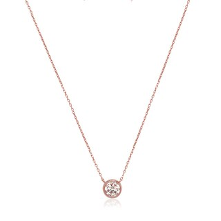 14k Rose Gold Cubic Zirconia Bezel Solitaire Necklace