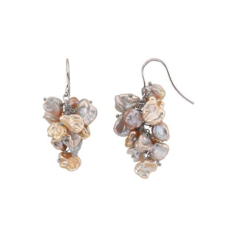 Women's Sterling Silver Freshwater Keshi Cultured Pearl French-wire Earrings - Brown