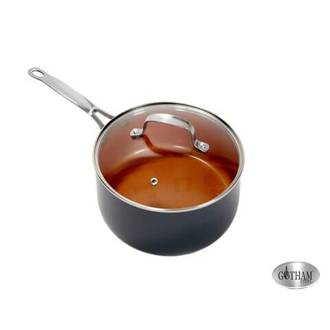 Gotham Steel Copper Non-stick 1 Quart Stock Pot with Lid Ti Cerama