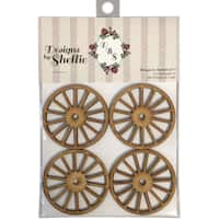 Designs By Shellie Wood Embellishments 4/Pkg-Wagon Wheels, 2.5""