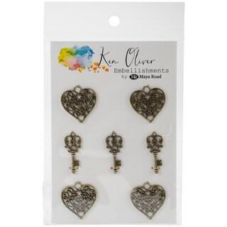 Ken Oliver Vintage Embellishments-Heart & Key Charms