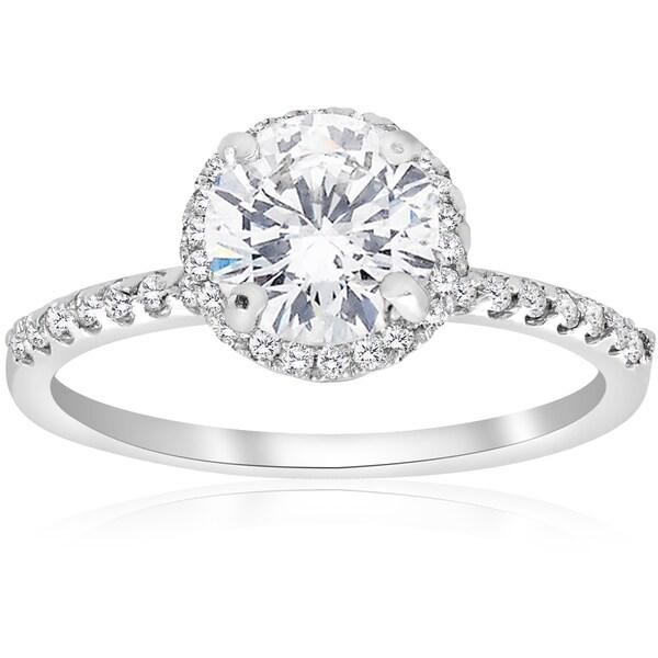 14K White Gold 1 3/4 ct TDW Diamond Clarity Enhanced Round Cut Halo Engagement Ring (I-J,I2-I3)
