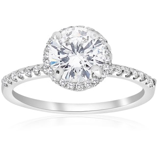 14K White Gold 1 3/4 ct TDW Diamond Clarity Enhanced Round Cut Halo Engagement Ring (I-J,I2-I3)