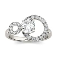 Charles & Colvard 14k White Gold 1ct DEW Round Forever Classic Moissanite Double Circle Fashion Ring