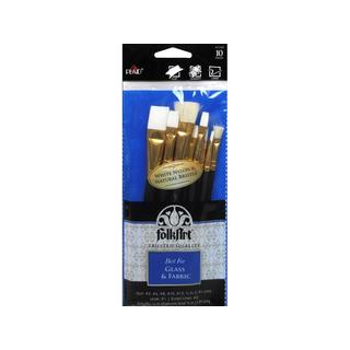 Plaid FolkArt Brush Set Glass & Fabric 10pc