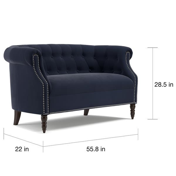 Fabulous Shop Copper Grove Muir Chesterfield Navy Blue Velvet Onthecornerstone Fun Painted Chair Ideas Images Onthecornerstoneorg