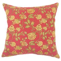 Xipil Floral 22-inch Down Feather Throw Pillow Red