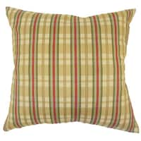 Eero Plaid 22-inch Down Feather Throw Pillow Gold