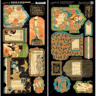 "Vintage Hollywood Cardstock Die-Cuts 6""X12"" Sheets 2/Pkg-Tags & Pockets"