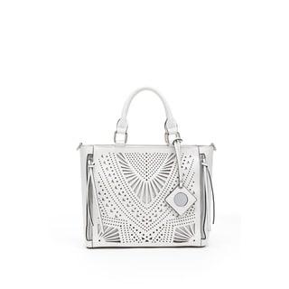 Catherine Malandrino Ellie White/Purple Faux Leather Satchel Handbag