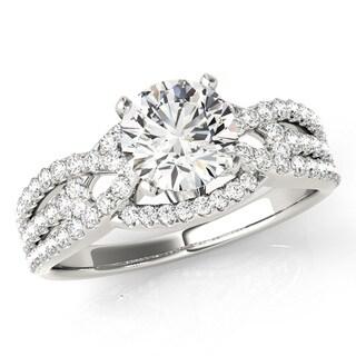 Scintilenora Intertwined MultiRow Diamond Engagement Ring 18k Gold 1 1/4 TDW