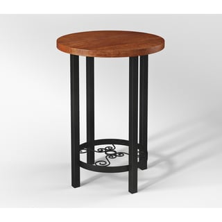 Artesian Wood/ Metal Scroll 20-inch W Round End Table