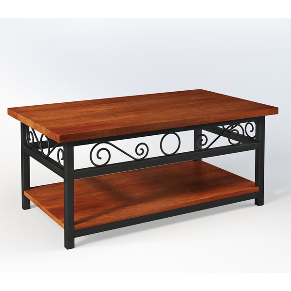 Artesian Wood/ Metal Scroll 42-inch W Coffee Table