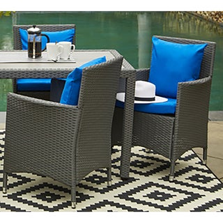 Handy Living Aldrich Indoor/ Outdoor 2-piece Rattan Arm Chairs with Sunbrella Blue Cushions
