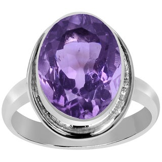 Orchid Jewelry 5 1/2 Carat Amethyst Silver Overlay Birthstone Ring