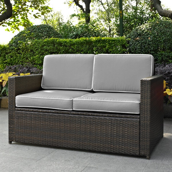 Palm Harbor Outdoor Wicker Loveseat In Brown With Grey Cushions Free Shipping Today 15285898