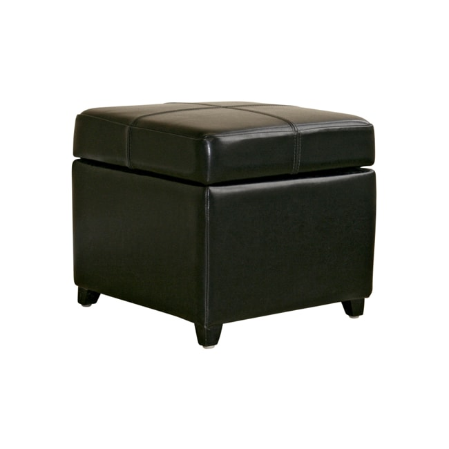Shop Black Bi Cast Leather Storage Ottoman Free Shipping