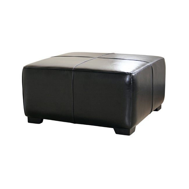 Black Bi Cast Leather Cocktail Ottoman Free Shipping