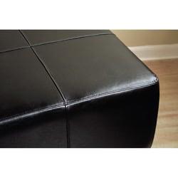 Black Bi-cast Leather Cocktail Ottoman - Thumbnail 2