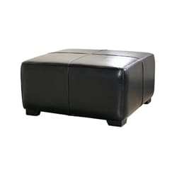 Black Bi-cast Leather Cocktail Ottoman