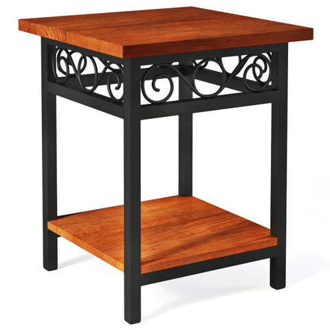 Artesian Scrollwork 22-inch Wood/ Metal End Table