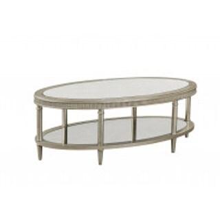 Bassett Mirror Company Vanesta Silvertone Wood/Mirrored Oval Pedestal Cocktail Table