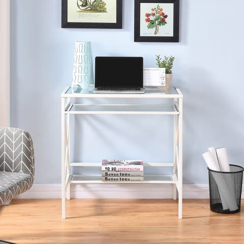 Ensley Metal/Glass Small-Space Desk - White