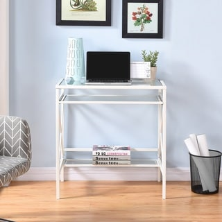Harper Blvd Ensley Metal/Glass Small-Space Desk - White