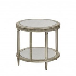 Bassett Mirror Company Vanesta Round Silver Finish Wooden Pedestal End Table