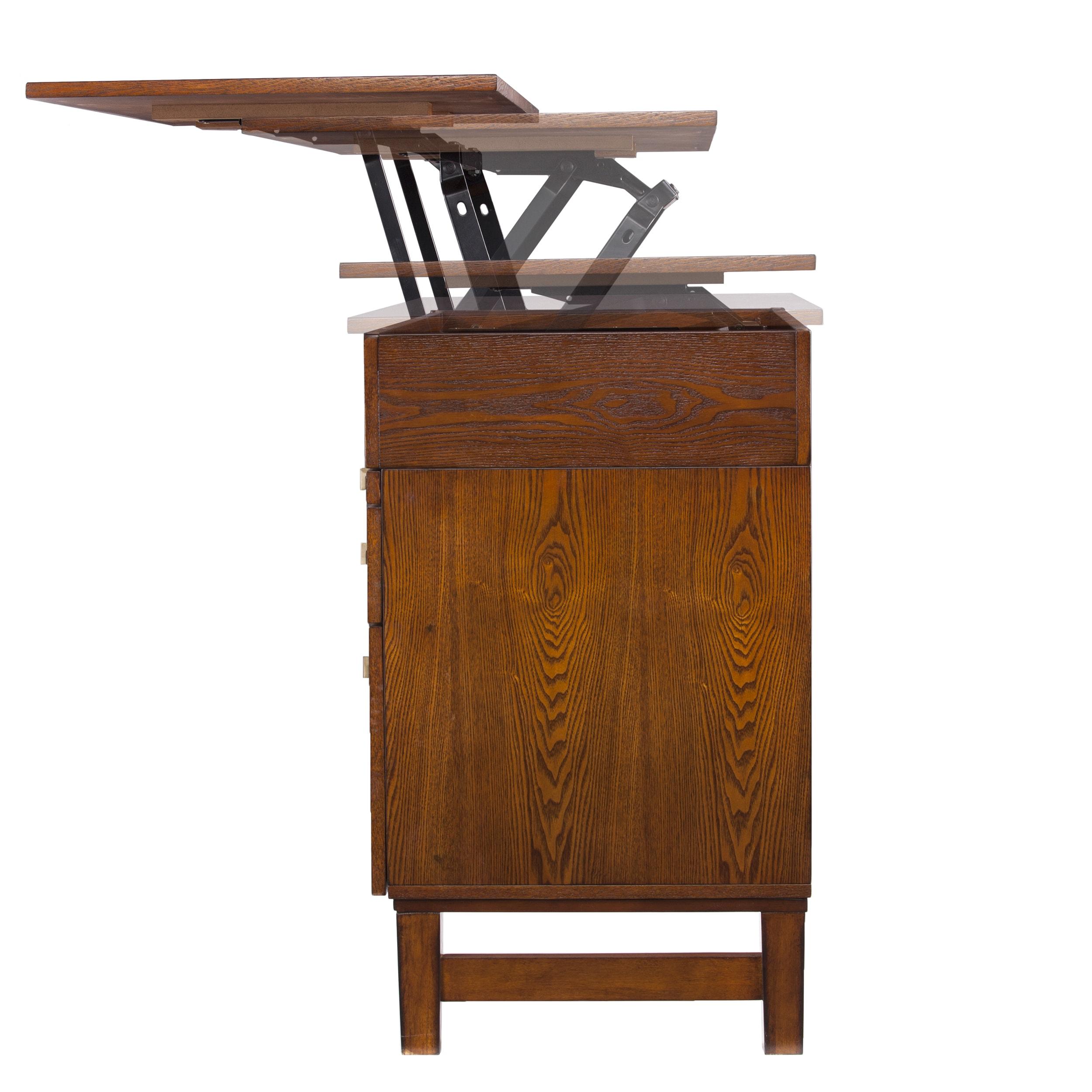 Image of: Shop Black Friday Deals On Ellenda Midcentury Adjustable Height Desk Salem Oak Overstock 15286488