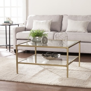 Porch & Den Lakeridge Square Metal/Glass Open Shelf Cocktail Table - Gold