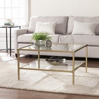 Clay Alder Home Sorlie Metal/Glass Open Shelf Cocktail Table - Gold