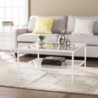 Clay Alder Home Sorlie Square Metal/Glass Open Shelf Cocktail Table - White