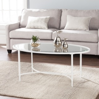 Quaker Metal/Glass Oval Cocktail Table - White