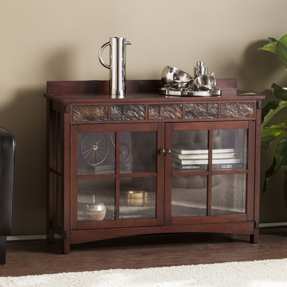 Copper Grove  Waverly Mission Faux Slate Sideboard and Display Curio (OS0092MC)