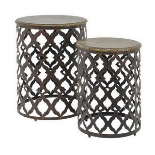 Three Hands Metal-Wood Table Set Of Two