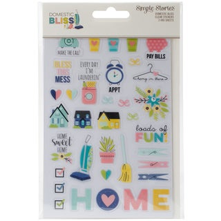 """Domestic Bliss Clear Stickers 4""""X6"""" 3/Pkg-(1) Color & (2) Black"""