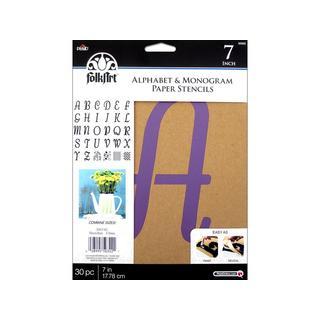 "Plaid Folkart Stencil Paper Alphabet Italic 7"""