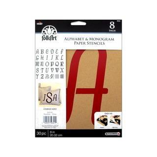 "Plaid Folkart Stencil Paper Alphabet Italic 8"""