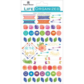 """Paper House Life Organized Planner Stickers 4.5""""X7.5"""" 4/Pkg-Live Bold"""