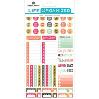 """Paper House Life Organized Planner Stickers 4.5""""X7.5"""" 4/Pkg-Live Bold Budget