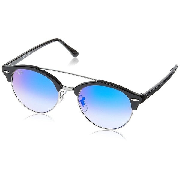 516a0a455e915f Ray-Ban Clubround Double Bridge RB4346 62507Q Men  x27 s Black Frame Blue