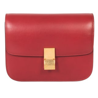 Celine Box Medium Red Calfskin Leather Classic Shoulder Handbag