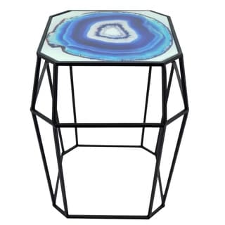 Three Hands Blue Metal End Table