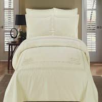 Athena Embroidered 100-percent Cotton Ivory/Ivory Duvet Cover Set