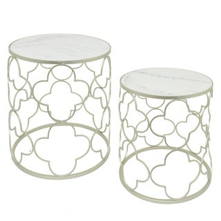 Three Hands Champagne Metal Marble-Top Tables (Set of 2) - l19.25x19.25x22.75 * m 17.75x17.75x20.75 *