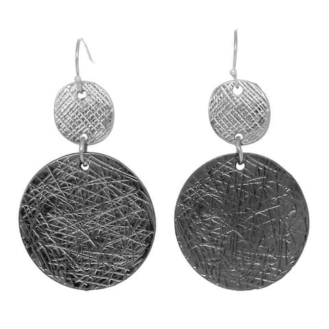 Two-Tone Etched Circle Double Drop Earrings